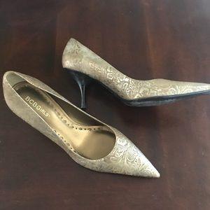 BCBG Gold Brocade Heels